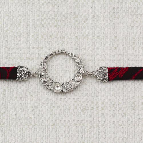 Bracciale Moon Ring con Broccato Nero e Rosso Vivo 8