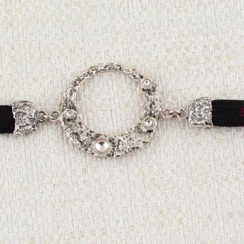 Bracciale Moon Ring con Broccato Nero e Rosso Scuro 7