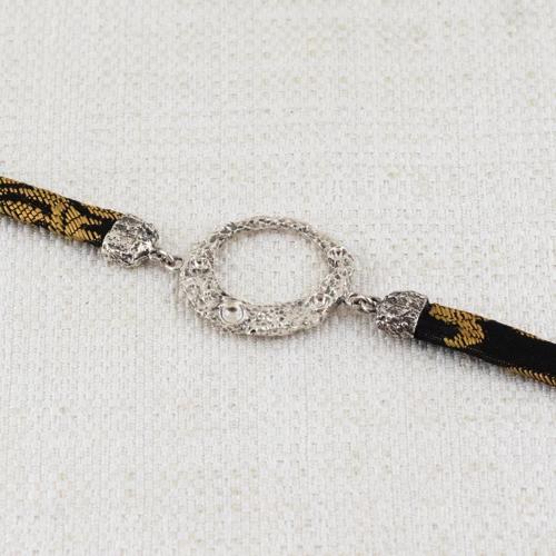 Bracciale Moon Ring con Broccato Nero e Oro 6