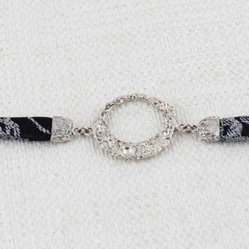Bracciale Moon Ring con Broccato Nero e Argento 5