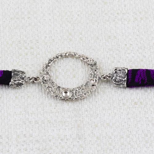 Bracciale Moon Ring con Broccato Nero e Viola 10