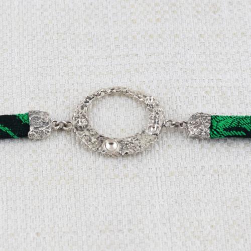 Bracciale Moon Ring con Broccato Nero e Verde 10