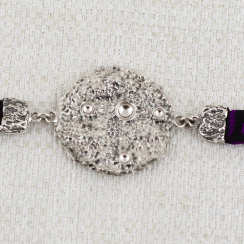 Full Moon Bracelet with Black and Purple brocade 8